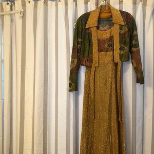 Vintage handmade dress gold and floral